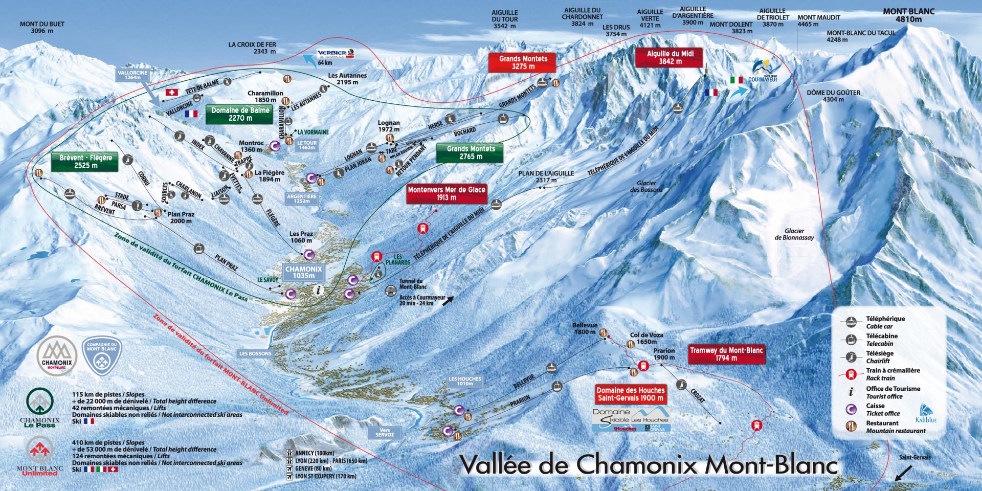 Chamonix Piste Map and Ski Area
