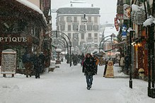 snowy high street in Chamonix town centre
